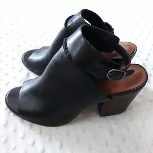 Lucky Brand peep toe block heels black Size 8